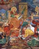 St Catherine bespreekt met filosofen stock afbeeldingen
