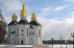 St. Catherine church in winter Chernihiv park, Ukraine Royalty Free Stock Image