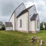 St Catherine Kerk, Muhu-Eiland, Estland Een steepleless luth Stock Foto's