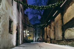 St. Catherine Passage - cosy ancient street in the Old town of T Stock Image