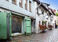 St Catherine Passage - un piccolo passaggio pedonale nella vecchia città Tallinn, Estonia immagine stock