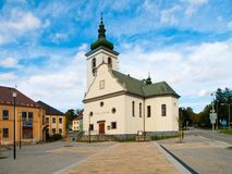 St Catherine ` s kerk in Volary, Sumava-Bergen, Tsjechische Republiek Royalty-vrije Stock Foto