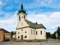 St Catherine ` s kerk in Volary, Sumava-Bergen, Tsjechische Republiek Royalty-vrije Stock Foto's