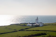 Free St Catherine`s Lighthouse On Isle Of Wight At Watershoot Bay In Stock Images - 113410714