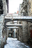 St. Catherine`s Passage with snow in Tallinn Royalty Free Stock Photos