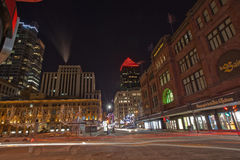 St. Catherine Street, Montreal, on an Extremely Cold Night Royalty Free Stock Images