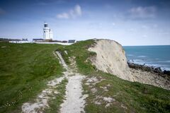 Free St Catherine&x27;s Lighthouse Over Looking The Cliffs On The Isle Of Wight, Hampshire Stock Photo - 180173340