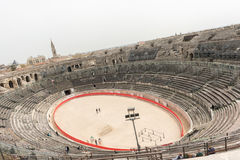 1st century BC Roman amphitheatre in Nimes, France Stock Photo