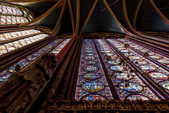 St Chappelle Cathedral. Dramatic view looking up at the stained glass and vaulted ceiling of St Chappelle Cathedral in Paris, France Stock Images