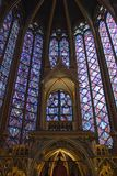 St. Chappelle Interior. Interior shot of the gothic St. Chappelle church in Paris, France Royalty Free Stock Images
