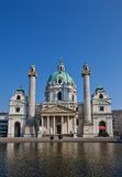 St. Charles Church (Karlskirche, 1737). Wien Österrike Arkivfoto