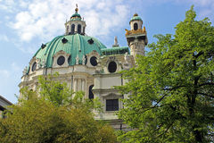 St. Charles Church (Vienna). St. Charles Church: Karlskirche - Roman Catholic church from the baroque period opened up in 1739 under the reign of emperor Karl VI Stock Images
