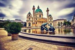 St. Charles`s Church, Karlskirche in Vienna, Austria. Instagram Stock Images
