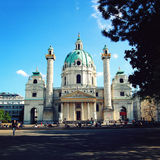 St.Charles's Church in Vienna, Austria. Aged photo Royalty Free Stock Image