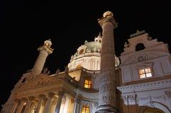 Karlskirche. St. Charles Church, at night - landmark attraction in Vienna, Austria Stock Image