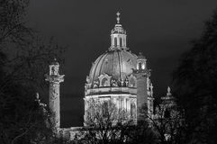 Karlskirche. St. Charles Church, at night - landmark attraction in Vienna, Austria royalty free stock photos