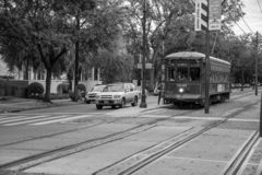 St Charles tram in NOLA royalty-vrije stock afbeeldingen
