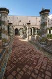 St Chiara Cloister. The beautiful cloister next to St Chiara Church in Naples, Italy Stock Photo