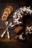Söt chokladtårta Arkivfoton