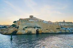 St. Christopher Bastion von Valletta-Festung, Malta stockfotografie