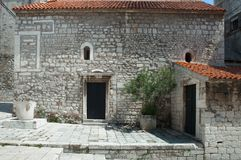 St Chrysogonus' Church in Sibenik. Small Romanesque styled church bilt in 12th century Royalty Free Stock Photography