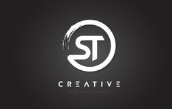 St Circular Letter Logo With Circle Brush Design And Black