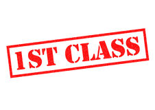 1ST CLASS. Red Rubber Stamp over a white background Royalty Free Stock Photo