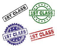 Scratched Textured 1ST CLASS Stamp Seals. 1ST CLASS seal prints with distress texture. Black, green,red,blue vector rubber prints of 1ST CLASS tag with corroded stock illustration