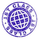 Scratched Textured 1ST CLASS Stamp Seal. 1ST CLASS stamp print with grunge texture. Blue vector rubber seal print of 1ST CLASS title with corroded texture. Seal stock illustration