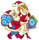 St Claus and Snowgirl. Cute Santa Claus with Gift bag and pretty Snowgirl Royalty Free Stock Image