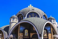 St. Clement of Ohrid or Kliment Ohridski Church in Skopje. Exterior view of St. Clement of Ohrid or Kliment Ohridski Church in Skopje, Macedonia Stock Photos