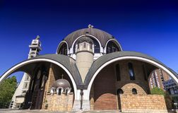 St. Clement of Ohrid or Kliment Ohridski Church in Skopje. Exterior view of St. Clement of Ohrid or Kliment Ohridski Church in Skopje, Macedonia Stock Image