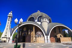 St. Clement of Ohrid or Kliment Ohridski Church in Skopje. Exterior view of St. Clement of Ohrid or Kliment Ohridski Church in Skopje, Macedonia Stock Photo