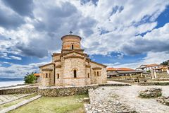 St. Clement`s Church at the Plaosnik site in Ohrid. Built in 893 AD and reconstructed in 2002, this is one of the most popular tourist destinations in Royalty Free Stock Photo