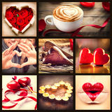 St. collage del día de tarjetas del día de San Valentín imagenes de archivo