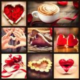 St collage di giorno di biglietti di S. Valentino Immagini Stock