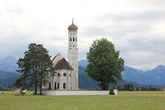St Coloman Church, near Fussen, Bavaria. Mountain landscape with St Coloman Church in Bavaria, Germany Stock Image