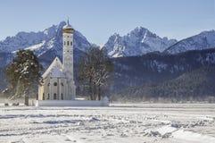 St. Coloman church in winter. St. Coloman church in January, 2013. Ostallgau - Bavaria - Germany Stock Photo