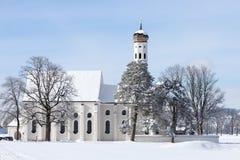 St Coloman near Schwangau, Germany. Winter landscape and chapel,schwangau,St. Coloman, Germany Royalty Free Stock Photography