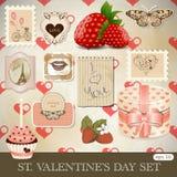St. Conjunto del día de tarjeta del día de San Valentín Foto de archivo