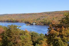 St. Croix Scenic River in October. River in the fall from the overlook Stock Photos