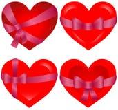 St Cuori del `s del biglietto di S. Valentino legati con il nastro dentellare Immagini Stock Libere da Diritti