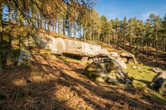 St Cuthbert's Cave in woodland Royalty Free Stock Photos