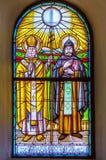 St Cyril i Methodius witrażu okno Zdjęcie Stock