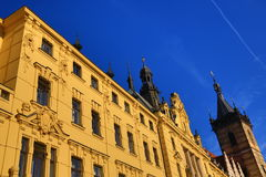 St. Cyril a Metoděj Church, The New Town Hall (Czech: Novoměstská radnice), Old Buildings, New Town, Prague, Czech Republic Royalty Free Stock Image