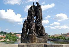 St Cyril and St Methodius statue, Prague. Stock Photography