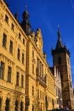 St Cyril una chiesa di Metod?j, nuovo municipio (Ceco: Radnice di Novom?stská), vecchie costruzioni, nuova città, Praga, repubblic Fotografia Stock Libera da Diritti
