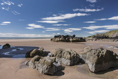 St Cyrus strand in Aberdeenshire, Schotland Royalty-vrije Stock Foto's
