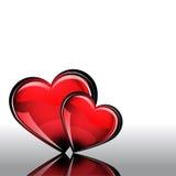 St Día de tarjeta del día de San Valentín Corazón de cristal rojo en el fondo blanco Fotografía de archivo libre de regalías