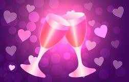 St Día del ` s de la tarjeta del día de San Valentín Dos vidrios en el fondo de corazones Fotos de archivo